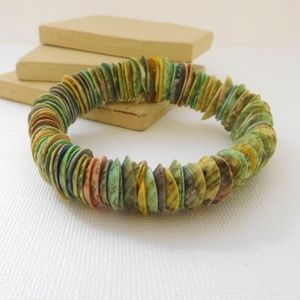 Retro Dyed Pastel Shell Boho Stretch Bracelet